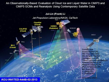 CloudSat(Cloud) CALIPSO(Cloud) CERES(Radiation) MLS (Cloud) AGU-INVITED-A44B-02-2013 An Observationally-Based Evaluation of Cloud Ice and Liquid Water.