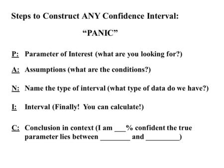 "Steps to Construct ANY Confidence Interval: ""PANIC"" P:Parameter of Interest (what are you looking for?) A:Assumptions (what are the conditions?) N:Name."