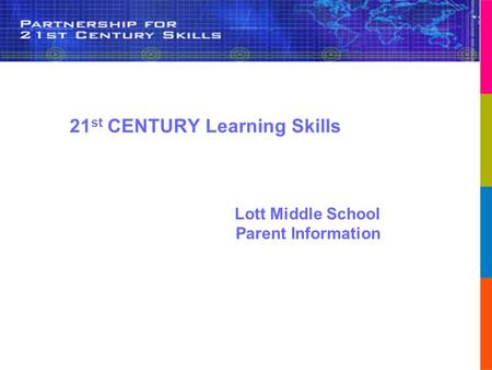 Lott Middle School Parent Information 21 st CENTURY Learning Skills.
