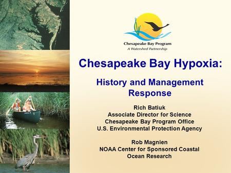Chesapeake Bay Hypoxia: History and Management Response Rich Batiuk Associate Director for Science Chesapeake Bay Program Office U.S. Environmental Protection.