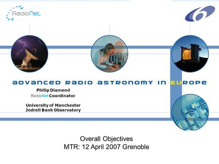 Philip Diamond RadioNet Coordinator University of Manchester Jodrell Bank Observatory Overall Objectives MTR: 12 April 2007 Grenoble.