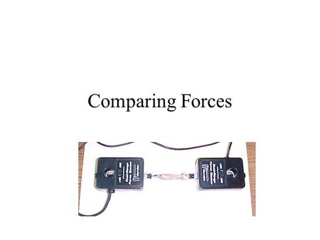 Comparing Forces. In this experiment you will use two force sensors to compare the force that one object exerts on another. The force sensors are electronic.