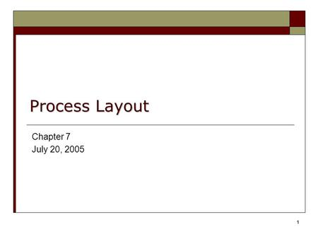 1 Process Layout Chapter 7 July 20, 2005. Dr. Karndee Prichanont IES371 1/2005 2 Objectives of Facility Layout  Minimize material handling costs  Utilize.