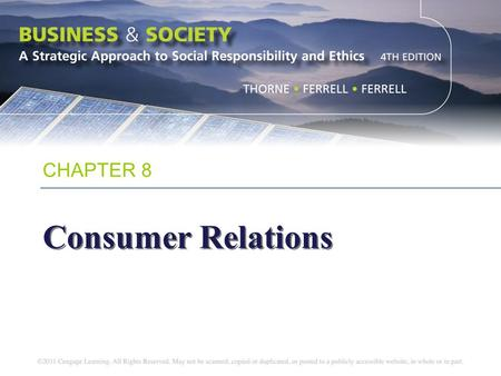 CHAPTER 8 Consumer Relations.