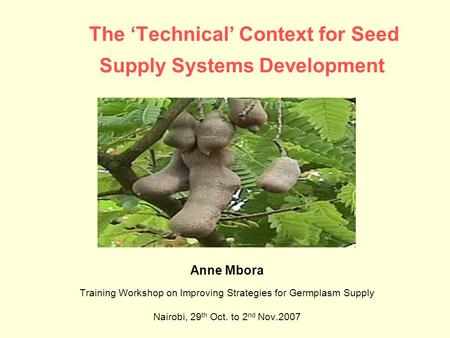 The 'Technical' Context for Seed Supply Systems Development Anne Mbora Training Workshop on Improving Strategies for Germplasm Supply Nairobi, 29 th Oct.