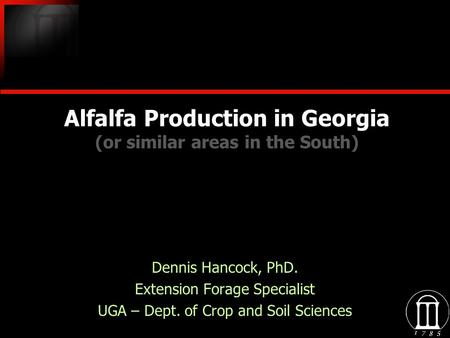 Alfalfa Production in Georgia (or similar areas in the South)