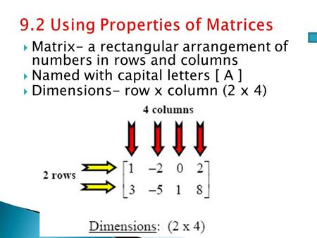  Matrix- a rectangular arrangement of numbers in rows and columns  Named with capital letters [ A ]  Dimensions- row x column (2 x 4)