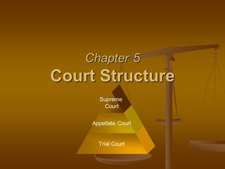 Chapter 5 Court Structure S Supreme Court Appellate Court Trial Court.