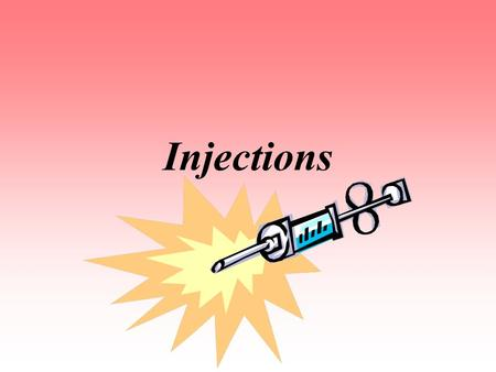 Injections. Uses depends on… Amount of solution/medication Purpose of the injection Animal involved Injections are measured in cc's.