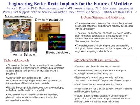 Engineering Better Brain Implants for the Future of Medicine Patrick J. Rousche, Ph.D. Bioengineering, and co-PI Laxman Saggere, Ph.D. Mechancial Engineering.