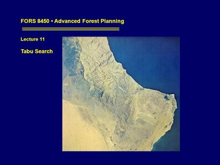 FORS 8450 Advanced Forest Planning Lecture 11 Tabu Search.
