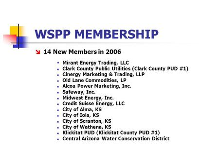 WSPP MEMBERSHIP  14 New Members in 2006  Mirant Energy Trading, LLC Clark County Public Utilities (Clark County PUD #1) Cinergy Marketing & Trading,