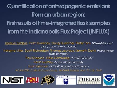 Quantification of anthropogenic emissions from an urban region: First results of time-integrated flask samples from the Indianapolis Flux Project (INFLUX)