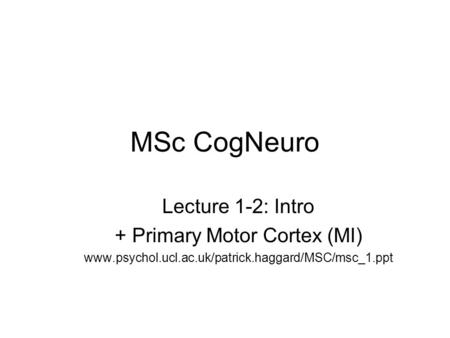 MSc CogNeuro Lecture 1-2: Intro + Primary Motor Cortex (MI) www.psychol.ucl.ac.uk/patrick.haggard/MSC/msc_1.ppt.