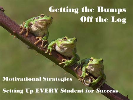 Getting the Bumps Off the Log Motivational Strategies Setting Up EVERY Student for Success.