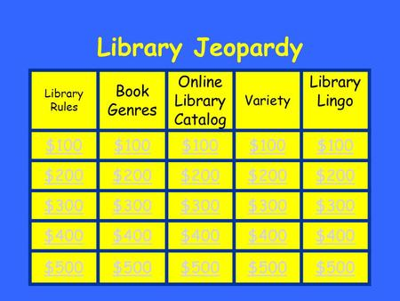 Clarissa Grindle Library Jeopardy Library Rules Book Genres Online Library Catalog Variety Library Lingo $100 $200 $300 $400 $500.