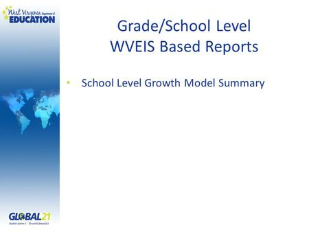 Grade/School Level WVEIS Based Reports School Level Growth Model Summary.