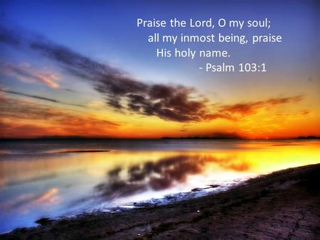Praise the Lord, O my soul; all my inmost being, praise His holy name. - Psalm 103:1.