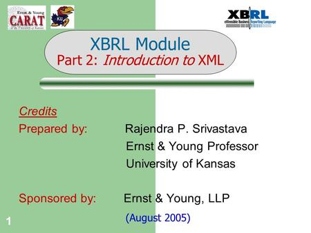 1 Credits Prepared by: Rajendra P. Srivastava Ernst & Young Professor University of Kansas Sponsored by: Ernst & Young, LLP (August 2005) XBRL Module Part.