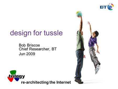 Design for tussle Bob Briscoe Chief Researcher, BT Jun 2009 re-architecting the Internet.