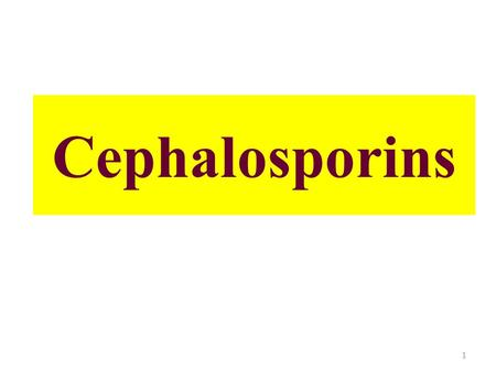 "Cephalosporins 1. Cephalosporin antibiotics – derived from ""cephalosporin C"" – obtained from fungus Cephalosporium acremonium Cephalosporin nucleus Consists."