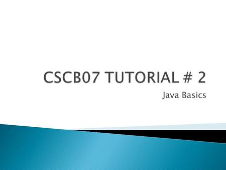 Java Basics.  To checkout, use: svn co scb07f12/UTORid  Before starting coding always use: svn update.