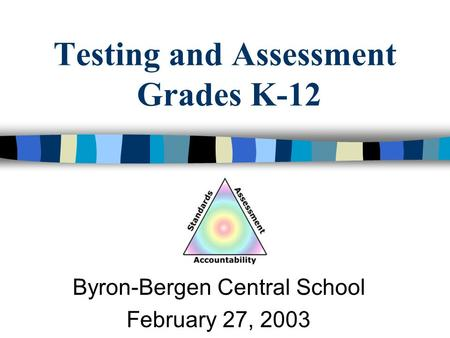 Testing and Assessment Grades K-12 Byron-Bergen Central School February 27, 2003.