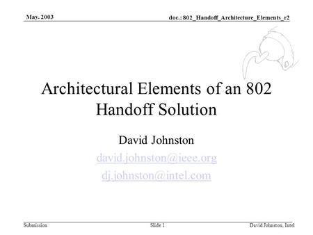 Doc.: 802_Handoff_Architecture_Elements_r2 Submission May. 2003 David Johnston, IntelSlide 1 Architectural Elements of an 802 Handoff Solution David Johnston.