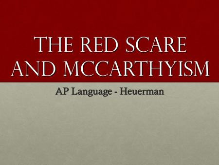 a research on the red scare