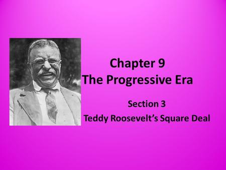 Chapter 9 The Progressive Era Section 3 Teddy Roosevelt's Square Deal.