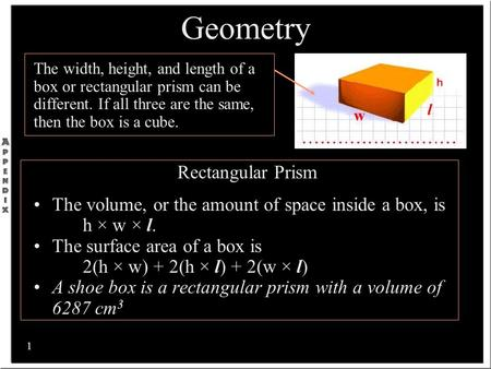 1 The width, height, and length of a box or rectangular prism can be different. If all three are the same, then the box is a cube. Rectangular Prism The.