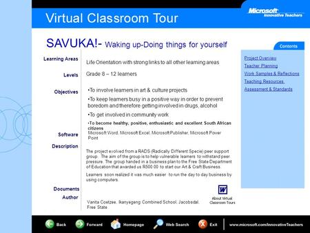 SAVUKA!- Waking up-Doing things for yourself Project Overview Teacher Planning Work Samples & Reflections Teaching Resources Assessment & Standards Learning.