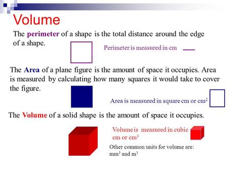 Volume The perimeter of a shape is the total distance around the edge of a shape. Perimeter is measured in cm The Area of a plane figure is the amount.