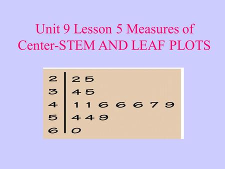 Unit 9 Lesson 5 Measures of Center-STEM AND LEAF PLOTS.
