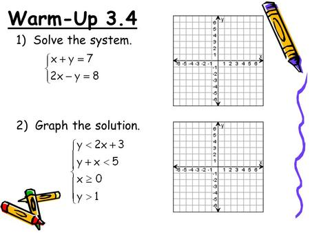 Warm-Up 3.4 1) Solve the system. 2) Graph the solution.