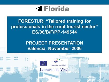 "FORESTUR: ""Tailored training for professionals in the rural tourist sector"" ES/06/B/F/PP-149544 PROJECT PRESENTATION Valencia, November 2006."