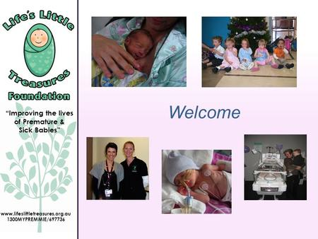 """Improving the lives of Premature & Sick Babies"" www.lifeslittletreasures.org.au 1300MYPREMMIE/697736 Welcome."