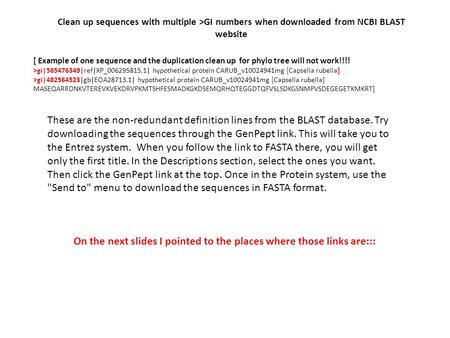 Clean up sequences with multiple >GI numbers when downloaded from NCBI BLAST website [ Example of one sequence and the duplication clean up for phylo tree.