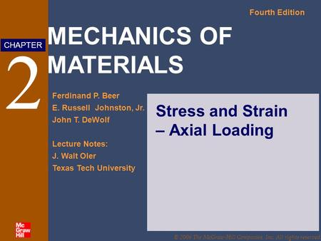 MECHANICS OF MATERIALS Fourth Edition Ferdinand P. Beer E. Russell Johnston, Jr. John T. DeWolf Lecture Notes: J. Walt Oler Texas Tech University CHAPTER.