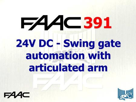 24V DC - Swing gate automation with articulated arm 391.