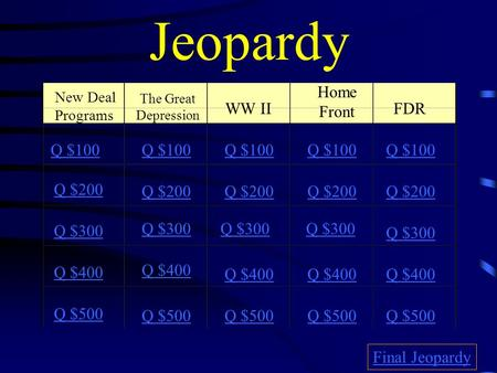 Jeopardy New Deal Programs The Great Depression WW II Home Front FDR Q $100 Q $200 Q $300 Q $400 Q $500 Q $100 Q $200 Q $300 Q $400 Q $500 Final Jeopardy.