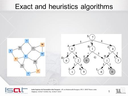 1 Exact and heuristics algorithms. 2 Introduction An optimization problem is the problem of finding the best solution from all feasible solutions Example: