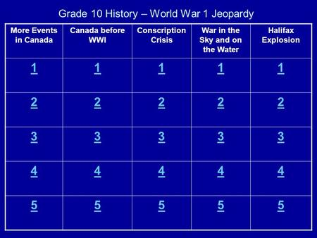 Grade 10 History – World War 1 Jeopardy Halifax Explosion War in the Sky and on the Water Conscription Crisis Canada before WWI More Events in Canada 11111.