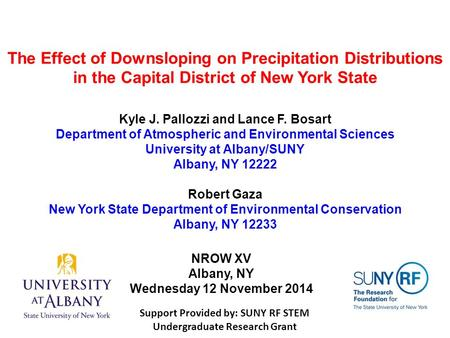 The Effect of Downsloping on Precipitation Distributions in the Capital District of New York State Kyle J. Pallozzi and Lance F. Bosart Department of Atmospheric.