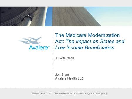 Avalere Health LLC | The intersection of business strategy and public policy The Medicare Modernization Act: The Impact on States and Low-Income Beneficiaries.