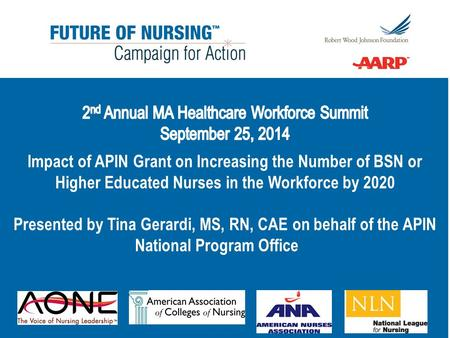 Academic Progression in Nursing Objective: test promising models in pursuit of the 80/20 goal RWJF and Tri-Council for Nursing Nine states selected in.