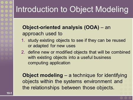 Introduction to Object Modeling