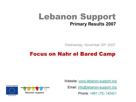 Lebanon Support Primary Results 2007 Website:    Phone: