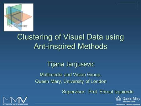Tijana Janjusevic Multimedia and Vision Group, Queen Mary, University of London Clustering of Visual Data using Ant-inspired Methods Supervisor: Prof.
