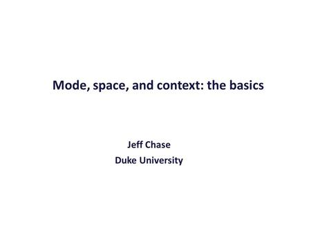 Mode, space, and context: the basics